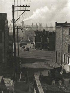 Bethlehem Steel in the background from Franklin, 1934 Johnstown Pennsylvania, Johnstown Flood, Bethlehem Steel, Pennsylvania History, Factories, American, City, Places, Vintage