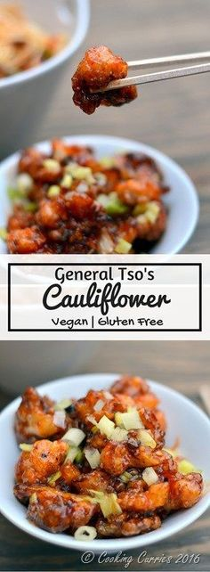 General Tso's Cauliflower - Crispy Cauliflower in a Sweet Chili Sauce - Vegan , Gluten Free - www.cookingcurries.com