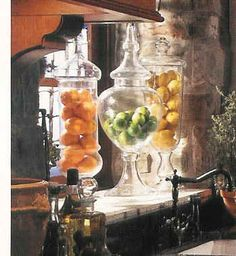 apothecary jars for fruit