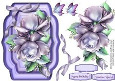 Beautiful lilac roses in a double frame  on Craftsuprint designed by Ceredwyn Macrae - A lovely card to make and give to anyone on there special day Beautiful Lilac roses on a double frame a lovely card has two greeting tags and a a blank one for you to choose the sentiment, - Now available for download!