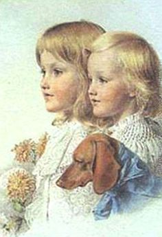 Conrad And Violet Flower - Anthony Frederick Sandys (1829 – 1904, English)