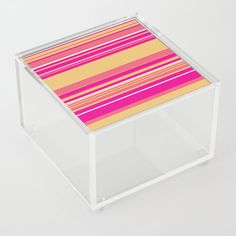 Complex Stripes - Hot Pink Acrylic Box by laec | Society6 Jewelry Gifts, Unique Jewelry, Pink Acrylics, Good Advice For Life, Storage Places, Acrylic Box, Hot Pink, Decorative Boxes, Stripes