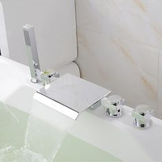 Contemporary New Chrome Brass Deck Mounted Polished Waterfall Bathroom  Bathtub Faucet  FaucetSuperDeal.com
