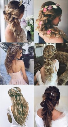 Long Braided Wavy Wedding Hairstyles from Ulyana Aster ❤ See More: http://www.deerpearlflowers.com/long-wedding-hairstyleswe-absolutely-adore/