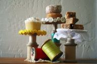 wooden thread spool crafts - Cup cake holders!!!