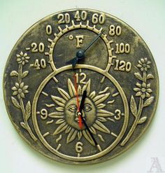 Brown Terra Cotta Outdoor Wall Clock with Thermometer $24.95