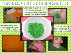 So creative and fun!!!! I love this mutlisensory activity.  A must for upcoming St. Pats (or Pink for Valentines) Day.  Mrs. Miner's Kindergarten Monkey Business: Meeting Common Core Standards With Spaghetti ???
