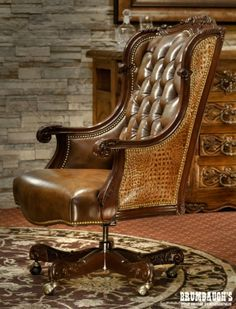 Oakley Alligator Executive Swivel   Brumbaughs Fine Home Furnishings Deco Furniture, Home Office Furniture, Luxury Furniture, Caracole Furniture, Leather Furniture, Furniture Stores, Georgian Furniture, French Furniture, Tuscan Style Homes