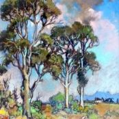 Sold | Theys, Conrad | Blue Gum trees Brighton College, South Africa Art, African Tree, National Art Museum, South African Artists, Art Society, Art Studies, Art School, Graphic Art