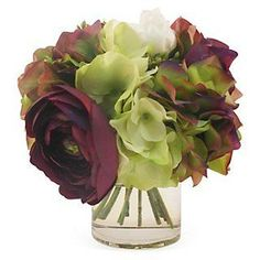 """8"""" Peony Mix in Vase, Faux 