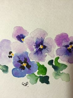 Purple Pansies Watercolor Card / Hand Painted by gardenblooms