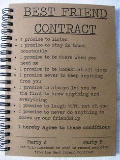 Best Friend Contract - 5 x 7 journal