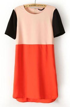 Apricot Red Contrast Short Sleeve Split Dress