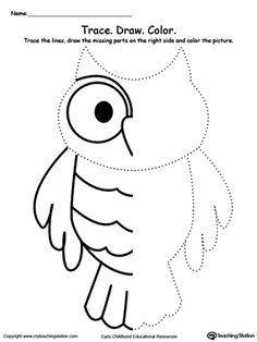 **FREE** Trace And Draw Missing Lines To Make An Owl Worksheet. Practice pre-writing, patterns, fine motor skills and thinking skills with this tracing and drawing lines printable worksheet. Your child will need to identify the patterns in the line to complete the other side. #MyTeachingStation