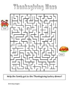 Thanksgiving: Free Thanksgiving Maze. A fun Thanksgiving activity to fill up some time, especially when kids need to settle down. Find the way to get the family through the maze to reach the Thanksgiving turkey! Fun to use in the classroom just before the Thanksgiving holiday, or at a family gathering.