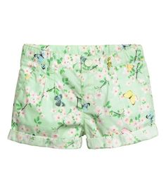 Cotton Shorts | Light green/patterned | Kids | H&M US