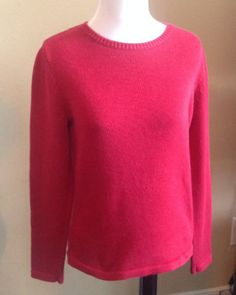 Charter Club Sweater Women's Size Small 100% Cotton Red Crewneck L/S Free Ship