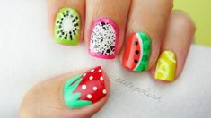 5 Summer Fruit Nail Art Designs-Hi guys! In today's DIY nail art tutorial, I'll be showing you a quick summer guide to creating a bunch of different fruit nail art designs. You can choose to wear one or two of them as… Nail Art Designs, Fruit Nail Designs, Simple Nail Designs, Acrylic Nail Designs, Nails Design, Cute Nail Art, Nail Art Diy, Diy Nails, Turtle Nails