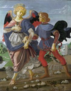 Workshop of Andrea del Verrocchio (Italian 1435–1488), Tobias and the Angel, between circa 1470 and 1475. Egg tempora on poplar wood, 84 x 66 cm, National Gallery, London.
