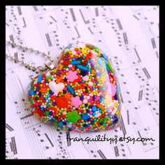 Sprinkle Heart Necklace Super Sweet Sprinkle Resin by tranquilityy