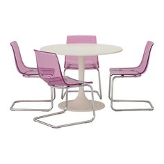DOCKSTA/TOBIAS Table and 4 chairs, white, lilac