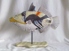 sculpture raku animaux poisson baliste picasso céramique grès Jean-Pierre Meyer (