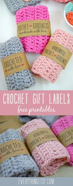 Printable Crochet Gift Labels - Free designs l EverythingEtsy.com