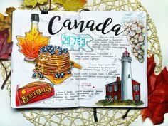 Creative Traveler: Art Journal Entry for Canada. Journal Art Drawing Traveling M. Creative Traveler: Art Journal Entry for Canada. Journal Art Drawing Traveling Memories and Ideas Journal D'art, Sketch Journal, Scrapbook Journal, Journal Layout, Journal Entries, Travel Scrapbook, Drawing Journal, Journal Design, Diy Scrapbook
