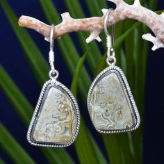 "FINE 925 STERLING SILVER  CRAZY LACE AGATE EARRING 7.83g DJER3932 L-1.50""…"