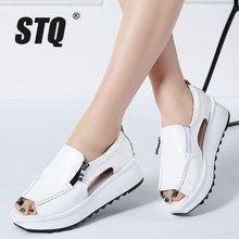 STQ Summer women sandals wedges sandals ladies open toe round toe zipp – US MA. Leather Sandals, Women's Shoes Sandals, Wedge Sandals, Wedge Shoes, Shoe Boots, Women Sandals, Shoes Sneakers, Zapatillas Casual, Platform Shoes