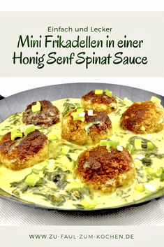 Mini Frikadellen in einer Honig Senf Spinat Sauce - Zu Faul Zum Kochen ? You should definitely try these delicious mini meatballs in a honey mustard spinach sauce, because they are tota Healthy Eating Tips, Healthy Nutrition, Healthy Snacks, Barbecue Sauce Recipes, Best Barbecue Sauce, Veggie Recipes, Snack Recipes, Mini Meatballs, Honey Mustard Salmon