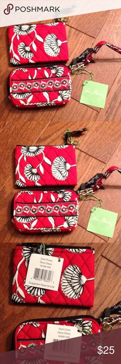 Vera Bradley Tech case and coin purse Coin purse measures 5 inches wide, 3 1/2 inches high, zips on top, tech case measures 5 inches wide, 3 inches tall, zips on top, has slot on interior on one side NWT, pattern is Deco Daisy Vera Bradley Accessories