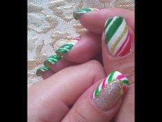 Christmas nail art tutorial - Candy Cane