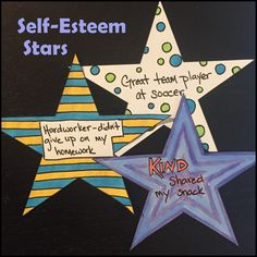 Self-Esteem Stars: An Activity to Build Confidence and Self-Esteem http://www.therapywithcarolyn.com/?utm_content=buffer7b28c&utm_medium=social&utm_source=pinterest.com&utm_campaign=buffer#!SelfEsteem-Stars-and-How-to-Effectively-Praise/c4w3/566c87d20cf2f7de56e5dd47