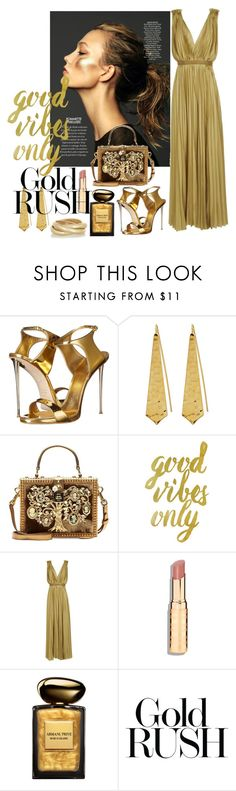 """""""Avarice Gold"""" by consuelor ❤ liked on Polyvore featuring Giuseppe Zanotti, Panacea, Dolce&Gabbana, WALL, Lanvin, Giorgio Armani and Kenneth Jay Lane"""