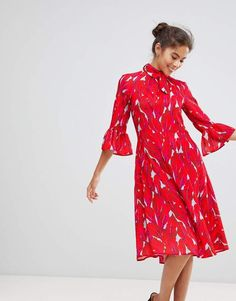 8eb86d2e6f8 Closet London Premium Allover Floral Print Midi Tie Neck Skater Dress With  Fluted Sleeves at asos.com