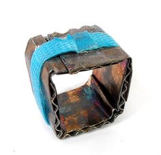 Paolo Scura  Ring: Cardboard in blue 2010  Constructed. Silver oxidised, nylon