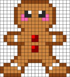 Gingerbread Man Perler Bead Pattern | Bead Sprites | Holidays Fuse Bead Patterns