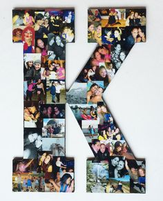 "Photo Collage Wood Letter Large (13"") with Felted Back on Etsy, $20.00"