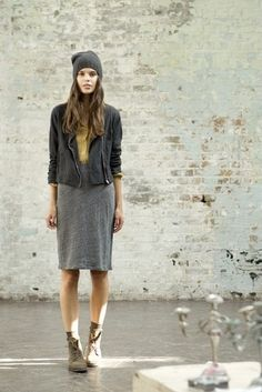 Styling inspiration for the Lisette moto jacket, Butterick B6169. Love it with the beanie, knit dress and booties.
