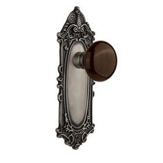 Nostalgic Warehouse Brown Porcelain Double Dummy Door Knob with Victorian Plate Finish: