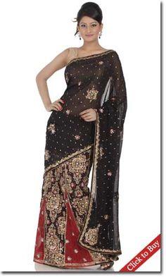 Chhabra555-Black-Art-Georgette-Lehanga-Saree-Saree