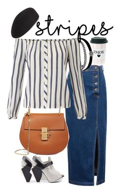 """Stripes with long denim skirt"" by willy3384 on Polyvore featuring Abcense, Charlotte Russe, Miss Selfridge, Chloé, Eugenia Kim, stripes, beret, saddlebag and longdenimskirt"