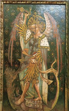 painted figure of St Michael, who heaves his sword aloft to slay the seven-headed dragon on whose scaly back he is trampling. The dragon's tail rises up on the right, completing a circular composition with the saint's long feathery wings. The angel's tiara head-dress, and feathery sleeves and leggings, are characteristic of East Anglian depictions of angels (see Image 505). The painted rood screen in the church of St Helen, Ranworth, Norfolk, of which this is one panel