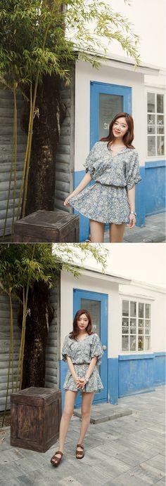 [슈가펀]빅플라워블라우스 big flower blouse / 플라워블라우스 꽃무늬 미니원피스 프릴 걸리시룩 데일리룩 : 슈가펀