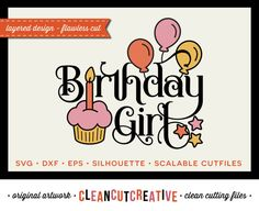 Birthday Girl Design - SVG Studio3 DXF EPS - cut file clip art - for Cricut and Silhouette Cameo - clean cutting digital files