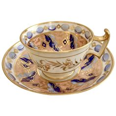 Ridgway teacup and saucer, gilt, peach and periwinkle blue on London shape, ca 1815