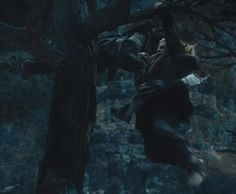 Kili helping Fili up into the tree. The awesome brotherly love between them is so epic and amazing! Though now that I look at it... it could be Gloin, not Fili.
