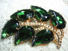 Emerald green vintage rhinestone leaf brooch