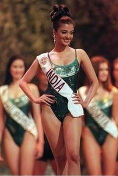 Aishwarya Rai in her Miss World Swimming costume round ... perfect body with intelligent mind.
